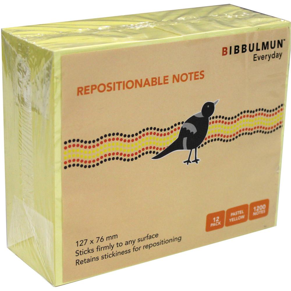 BIBBULMUN STICKY NOTES 76X127mm Yellow Pack of 12