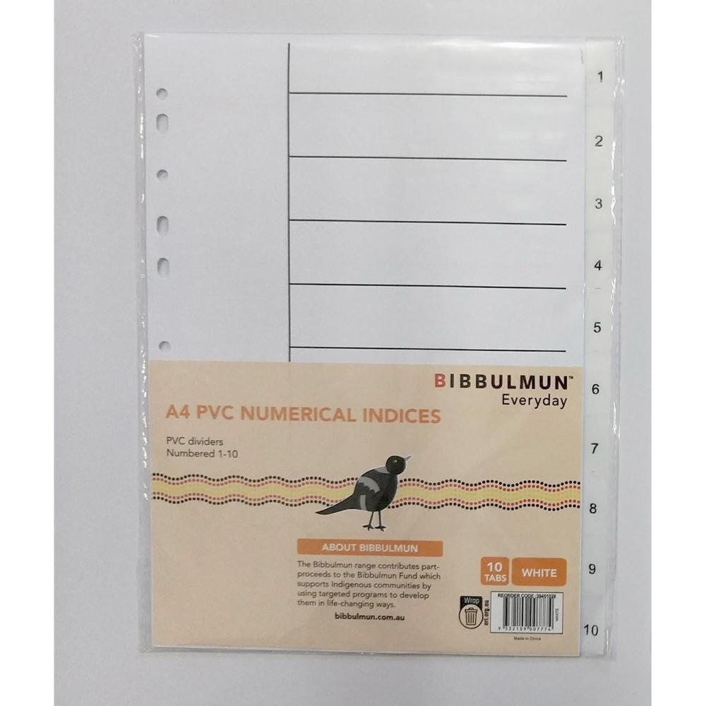 BIBBULMUN PVC DIVIDER A4 1-10 Tab White