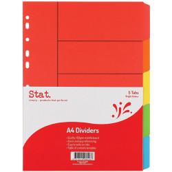 STAT DIVIDER A4 MANILLA BRIGHT Assorted 5 Tabs