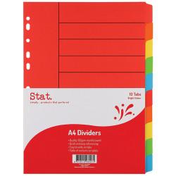 STAT DIVIDER A4 MANILLA BRIGHT Assorted 10 Tabs