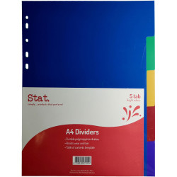 STAT DIVIDERS A4 PP 5 Tab Assorted