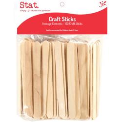 STAT POPSTICKS Wooden Plain Brown Pack of 150