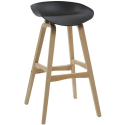 Virgo Bar Stool with Oak Timber Frame and Polypropylene Black Shell Seat