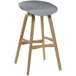 Virgo Bar Stool with Oak Timber Frame and Polypropylene Grey Shell Seat