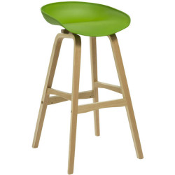 Virgo Bar Stool with Oak Timber Frame and Polypropylene Green Shell Seat