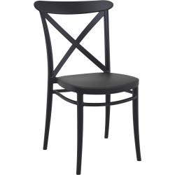 Cross Indoor Outdoor Cafe Chair Stackable UV Stabilised Polypropylene Black