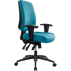 Buro Tidal Office Chair Mid Back With Arms Seat Slide Teal Fabric Seat and Back