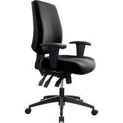 Buro Tidal Office Chair Mid Back With Arms Seat Slide Black Fabric Seat and Back