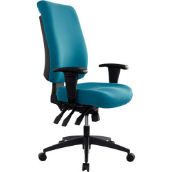 Buro Tidal Office Chair High Back With Arms Seat Slide Teal Fabric Seat and Back