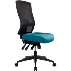 Buro Tidal Office Chair High Mesh Back No Arms Seat Slide Teal Fabric Seat and Back