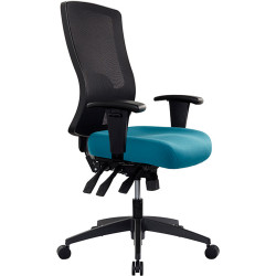 Buro Tidal Office Chair High Mesh Back With Arms Seat Slide Teal Fabric Seat and Back