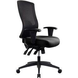 Buro Tidal Office Chair High Mesh Back With Arms Seat Slide Black Fabric Seat and Back