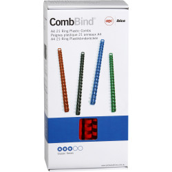 GBC PLASTIC BINDING COMB 12mm 21 Ring 95 Sheets Capacity Red Pack of 100