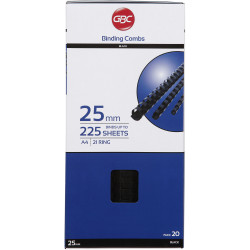 GBC PLASTIC BINDING COMB 38mm 21 Ring 375 Sheets Capacity Black Pack of 20