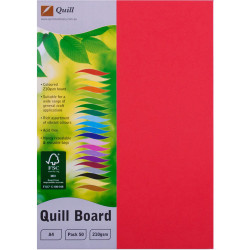 Quill Board 210GSM A4 Red Pack 50