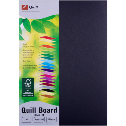 Quill Board 210GSM A4 Black Pack 100
