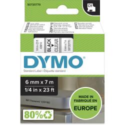 DYMO D1 LABEL CASSETTE TAPE 6mm x 7M Black on Clear