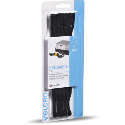 VELCRO® Brand REUSABLE TIES 5 X 200mm Black