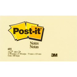 POST-IT 655 NOTES ORIGINAL 100Shts 76x127mm Yellow