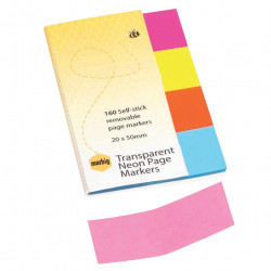 MARBIG TRANSPARENT PAGE MARKER Colour 20x50mm 160Sht Assorted