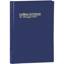 COLLINS NOTEBOOKS HARD COVER A5 Feint 168Pg Blue