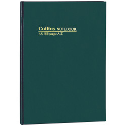 COLLINS NOTEBOOKS HARD COVER A5 A-Z 168Pg Green