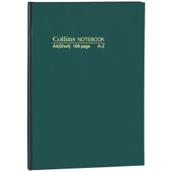 COLLINS NOTEBOOKS HARD COVER A4 Short A-Z 168Pg Green