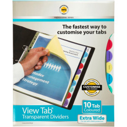 MARBIG VIEW TAB DIVIDERS A4 PP 10 Tab Xtra Wide Colour