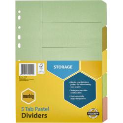 MARBIG MANILLA DIVIDERS A4 5 Tab Multi-Coloured