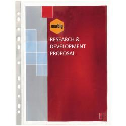 MARBIG COPYSAFE SHEET PROTECTR A4 Silver Strip, Glass Clear