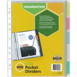 MARBIG POCKET DIVIDERS A4 PP 5 Tab Pockets