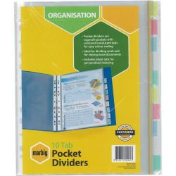 MARBIG POCKET DIVIDERS A4 PP 10 Tab Pockets