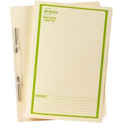 AVERY SPIRAL SPRING FILES Buff Printed Green