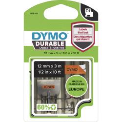 DYMO D1 DURABLE LABELLING TAPE Cassetes Black on Orange 12mmx3m