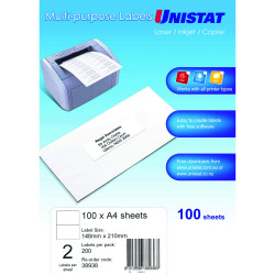 UNISTAT LASER/INKJET LABELS Copier 2/Sht 148x210mm