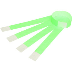 REXEL WRIST BANDS W/Serial Number Fluoro Green Pack of 100