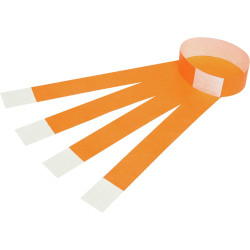 REXEL WRIST BANDS W/Serial Number Fluoro Orange Pack of 100