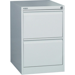 GO 2 DRAWER FILING CABINET H705 x W460 x D620mm Silver Grey Furnx