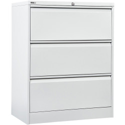 GO LATERAL FILING CABINET 3 DR White Satin H1016xW900xD470mm Furnx