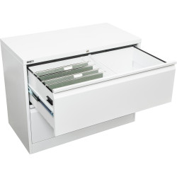 GO LATERAL FILING CABINET 2 DR White Satin H705xW900xD470mm Furnx