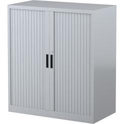 STEELCO TAMBOUR DOOR CUPBOARD 2 Shelf Silver Grey H1015xW900xD463mm