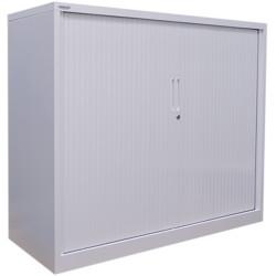 STEELCO TAMBOUR DOOR CUPBOARD 2 Shelf White Satin H1015xW900xD463mm