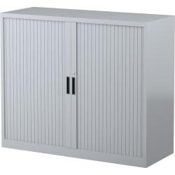 STEELCO TAMBOUR DOOR CUPBOARD 2 Shelf Silver Grey H1015xW1200xD463mm