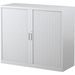 STEELCO TAMBOUR DOOR CUPBOARD 2 Shelf White Satin H1015xW1200xD463mm