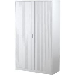 STEELCO TAMBOUR DOOR CUPBOARD 5 Shelf White Satin H2000xW1200xD463mm