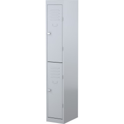 STEELCO PERSONNEL LOCKER 2 Door Silver Grey H1830xW305xD460mm