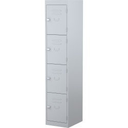 STEELCO PERSONNEL LOCKER 4 Door Silver Grey H1830xW380xD460mm