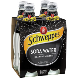 SCHWEPPES SODA WATER 300ml Glass Pack of 4