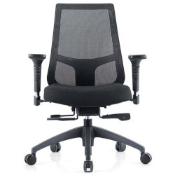 INSPIRE MESH BACK OFFICE CHAIR Black Fabric Seat+Synchron Adjustable Arms+Seat Slider