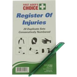 TRAFALGAR REGISTER OF INJURIES FAC Register Of Injuries Book